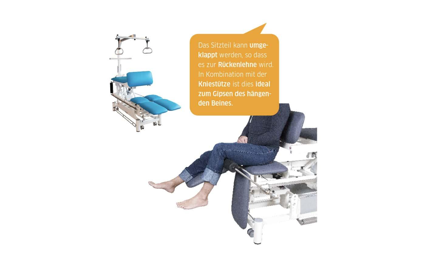 Die Möglichkeiten rund um unsere Gipsliegen sind zahlreich. Dank der großen Auswahl an Zubehörteilen können Sie sich die Liegen so konfigurieren, wie Sie sie für Ihre Behandlungen benötigen.  Hier zeigen wir Ihnen: Schaffen einer zusätzlichen Sitzfläche - komfortabel und optimal zum Gipsen